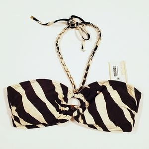 MICHAEL Michael Kors Striped Halter Tie Swim Top
